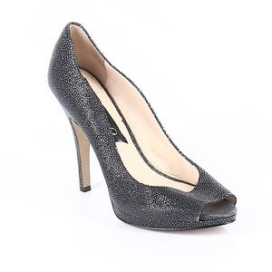 Boutique 9 Leather Speckle Peep Toe Heels